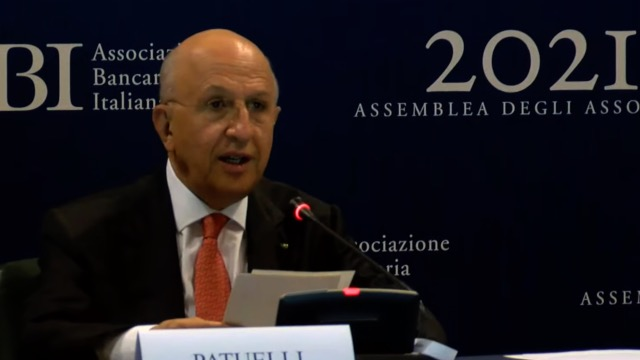 ASSEMBLEA ANNUALE ABI, PLAUSO DI SILEONI AL PRESIDENTE PATUELLI